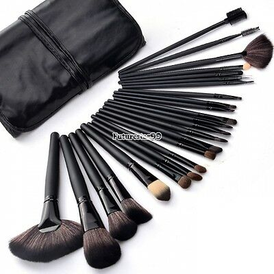 Professional 24Pcs Wood Makeup Brush Kit Cosmetic Make Up Set with Pouch Bag FT