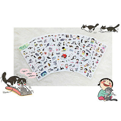 6 pcs/lot cute cat PVC paper sticker scrapbooking diary stationery Sticker  ca