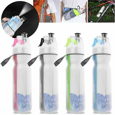 500ML Double Wall Mist Spray Water Bottle Portable Cycling Outdoor Sports Cup