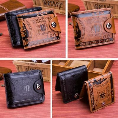 Womens Mens Currency Dollar Bill Wallet Leather Slim BiFold Wallet Purse LG