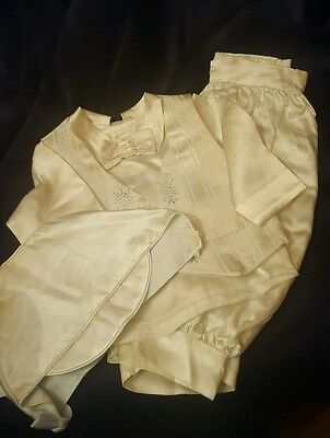 Vintage Baby Boy'S 4 Piece White Babtismal Suit, Buttons Together