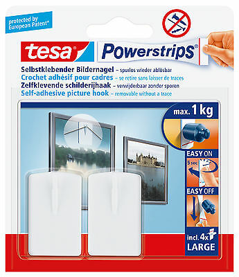 Tesa Powerstrips removable stick on picture hooks; 2pk