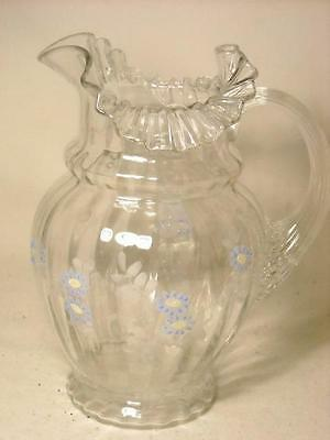 Fenton Hand Painted Clear Glass Fluted Ruffled Pitcher W/ Blue Flowers
