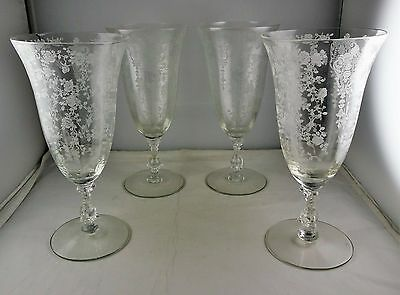Four Cambridge Rose Point-Clear Elegant Glass - Tall Glasses
