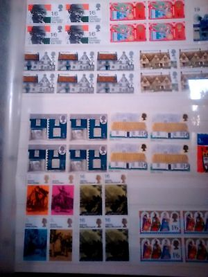 40  Mint UK  Commemorative Stamps mostly in blocks from around 1980's