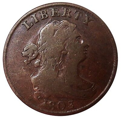 1803 Us Draped Bust Half Cent Copper Coin Very Good Condition