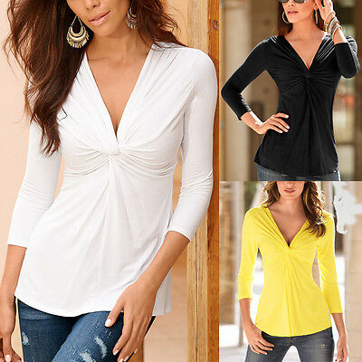 Sexy Women Cotton V-Neck Tops Long Sleeve T-Shirt Casual Blouse Plus Size S-XL A