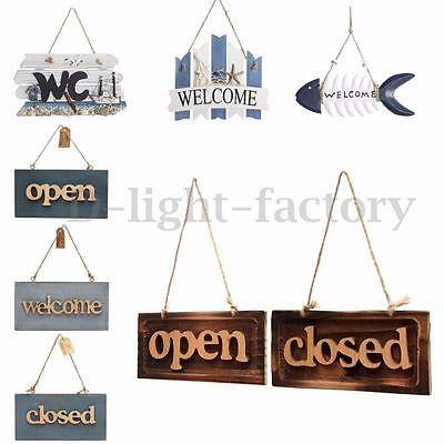 Vintage Wood Open Closed Welcome Sign Plaque Cafe Book Shop Door Hanging Decor
