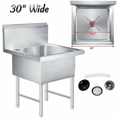 """Commercial Restaurant Stainless Steel Kitchen Utility Sink - 30"""" Wide Heavy Duty"""