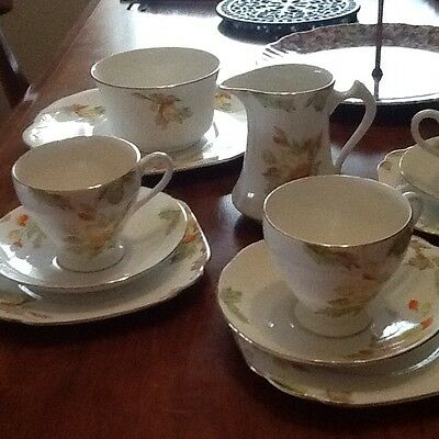 15 Piece Milo Salisbury Teaset Tea Set Vintage China England Autumn Tones