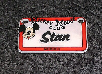 Vintage Walt Disney Prod. Mickey Mouse Club  Name Stan Plastic License Plate