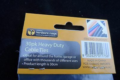 2 x 30 PK HEAVY DUTY CABLE TIES WHITE AND BLACK - 30CM LONG FREE POST