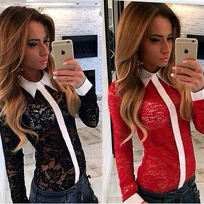Sexy Womens Ladies Lapel Blouse Long Sleeve Top T shirt Loose Lace Tops