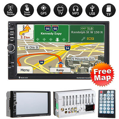 "GPS Navi 7"" Touchscreen Car Bluetooth Double 2DIN MP3 Player FM Radio USB TF+Map"