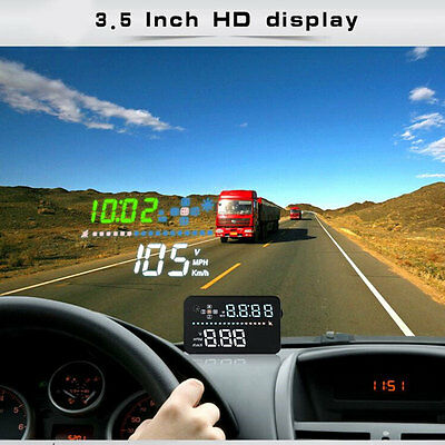Car 3.5 Inch GPS HUD Head-Up Display Speed Indication Detector Speedometer