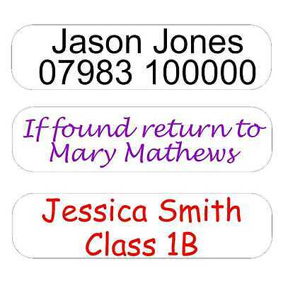 Large Iron on or Stick on Name Labels 72mm x 18mm for school uniform, care homes