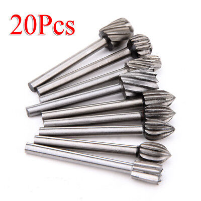 20pcs Burr Bit Grinder HSS For Routing Wood Rotary Milling File Cutter
