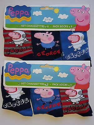 "Boys Toddler Childrens Character ""george Pig"" 3 Pack Socks"