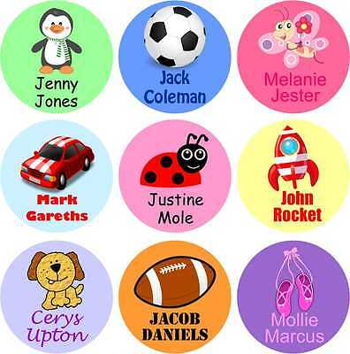 Personalised Round Colour Iron on Name Labels , Ideal School or Nursery Clothes