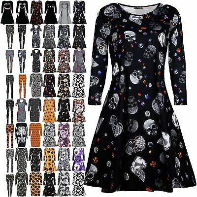 Ladies Halloween Skull Cat Bat Prints Long Sleeve Party Swing Dress Plus Size