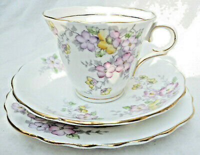 ANTIQUE COLCLOUGH CUP SAUCER & PLATE - English made bone china  - good used cond