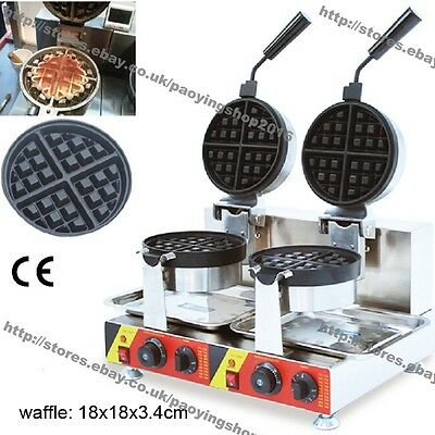 Commercial Nonstick Electric Dual Rotary Belgian Waffle Baker Maker Machine Iron