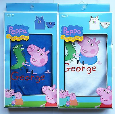 "Childrens Boys ""George Pig"" 2 Piece Vest And Briefs Set Underwear Set"