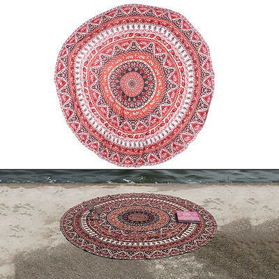 Summer Large Shawl Chiffon Beach Towels Bohemian Style Printed Round For Picnic