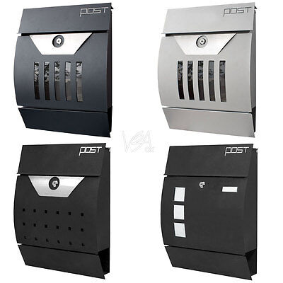 Modern Wall Mail Box Letter Box Post Box Newspaper Holder 4 Designs V2Aox