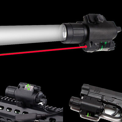 Red Laser Sight Scope+LED Flashlight Combo 20mm Picatinny Rail Mount for Hunting