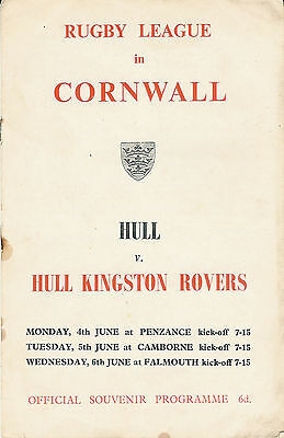 Hull v Hull KR 1962 PROGRAMME  Rugby League Cornwall Penzance Camborne Falmouth