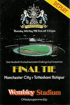 Manchester City v Tottenham Hotspur 4 May 1981 FA CUP FINAL REPLAY FOOTBALL PROG