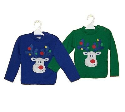 Baby Boys Christmas Jumpers - Reindeer On Front - Get Ready For Christmas