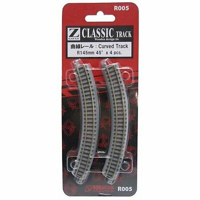 Rokuhan R005 R145mm 45 Curved Track 4 pcs. (1/220 Z Scale)