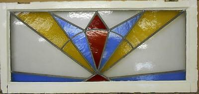 "LARGE OLD ENGLISH LEADED STAINED GLASS WINDOW Color Burst 42"" x 19.75"""