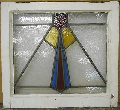 "OLD ENGLISH LEADED STAINED GLASS WINDOW Geometric Color Drop 20.75"" x 18.75"""