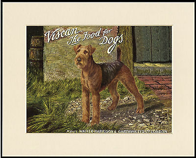 Airedale Terrier Vintage Style Dog Food Advert Print Mounted Ready To Frame