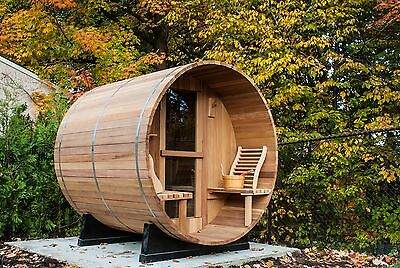 Barrel Sauna,Red Cedar,Front Porch,Electric Heater, 6 Feet, Fits 2+2 (BRT-66P-C)