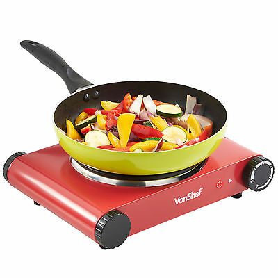 VonShef Hot Plate Red Single Cooker Hob 1500W Table Top Electric Portable