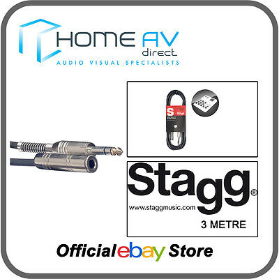 Stagg S Series Audio Cable 3m (10ft)- Stereo Phone Plug/Stereo Phone Jack  BLACK