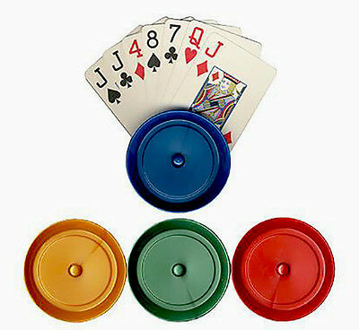 Card Holder 4 Round Color Plastic Playing Card Holders- 4 Different Colors *