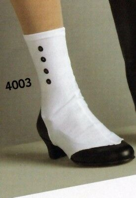 NWT Stirrup spats high button shoe look white lycra black sequin buttons