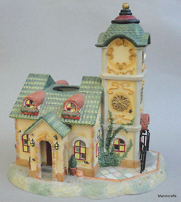 PartyLite Clock Tower Tealite Candle House 10in Olde World Village Porcelain #4