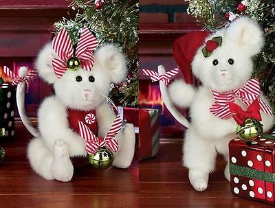 Bearington Bears Miss and Mr Mousetails Collectible Christmas Mice Set, 8""