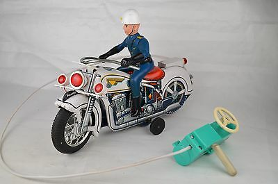 "Vintage TM ""Police"" Battery Operated Motorcycle 11 3/4"" Long Excellent"