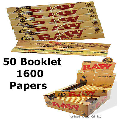 1600/800/320/160 RAW PAPERS KING SIZE 110 X44 mm ROLLING CLASSIC NATURAL PAPERS