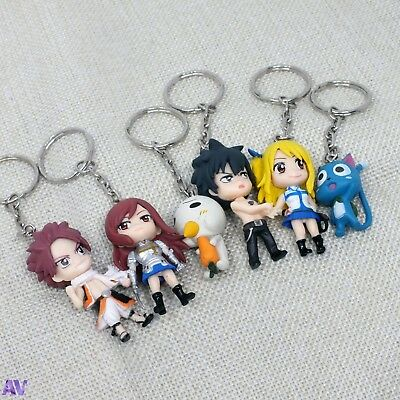 Anime Fairy Tail Figures Key Rings Cosplay KeyChain UK Stock