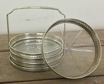 Antique Webster Sterling Silver Set 4 Coasters + Carry Caddy Star Glass Inserts