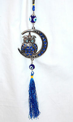 "15"" Glass Blue Evil Lucky Eye Silver Owl In Crescent Moon Amulet Hanging Charm"