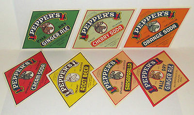VINTAGE SODA POP BOTTLE LABELS Wm. PEPPER & Co ASHLAND PENNSYLVANIA lot of (21)